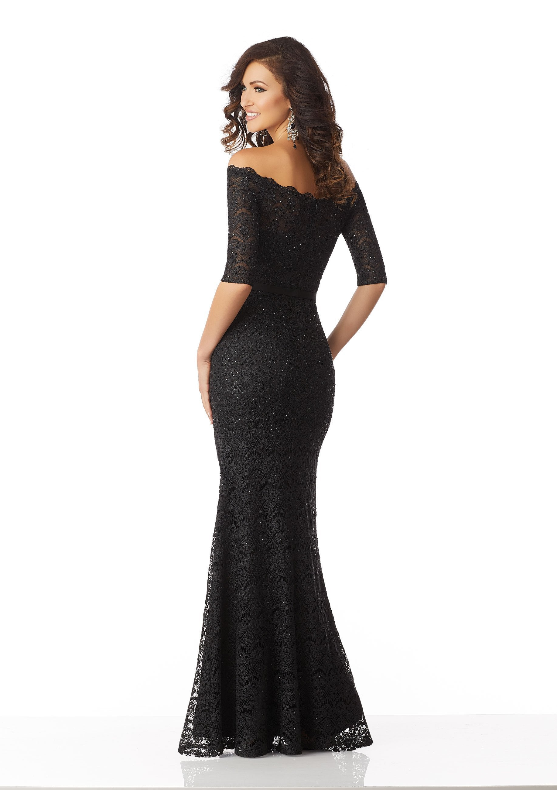 MGNY By Mori Lee - Lace Off-Shoulder Sheath Gown 71821 In Black