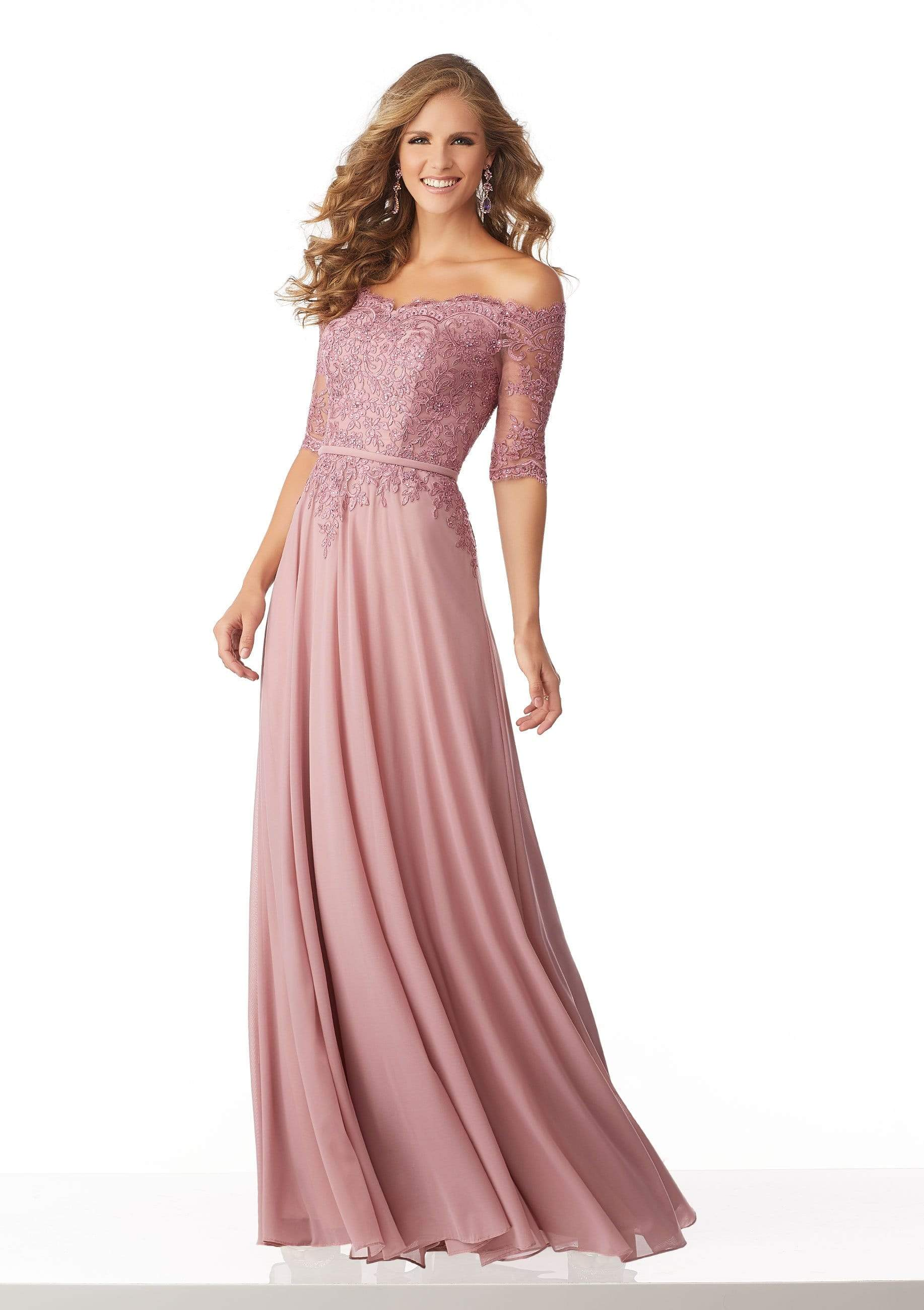 MGNY By Mori Lee - 71822 Beaded Lace Off-Shoulder A-Line Gown Mother of the Bride Dresses 0 / Rose