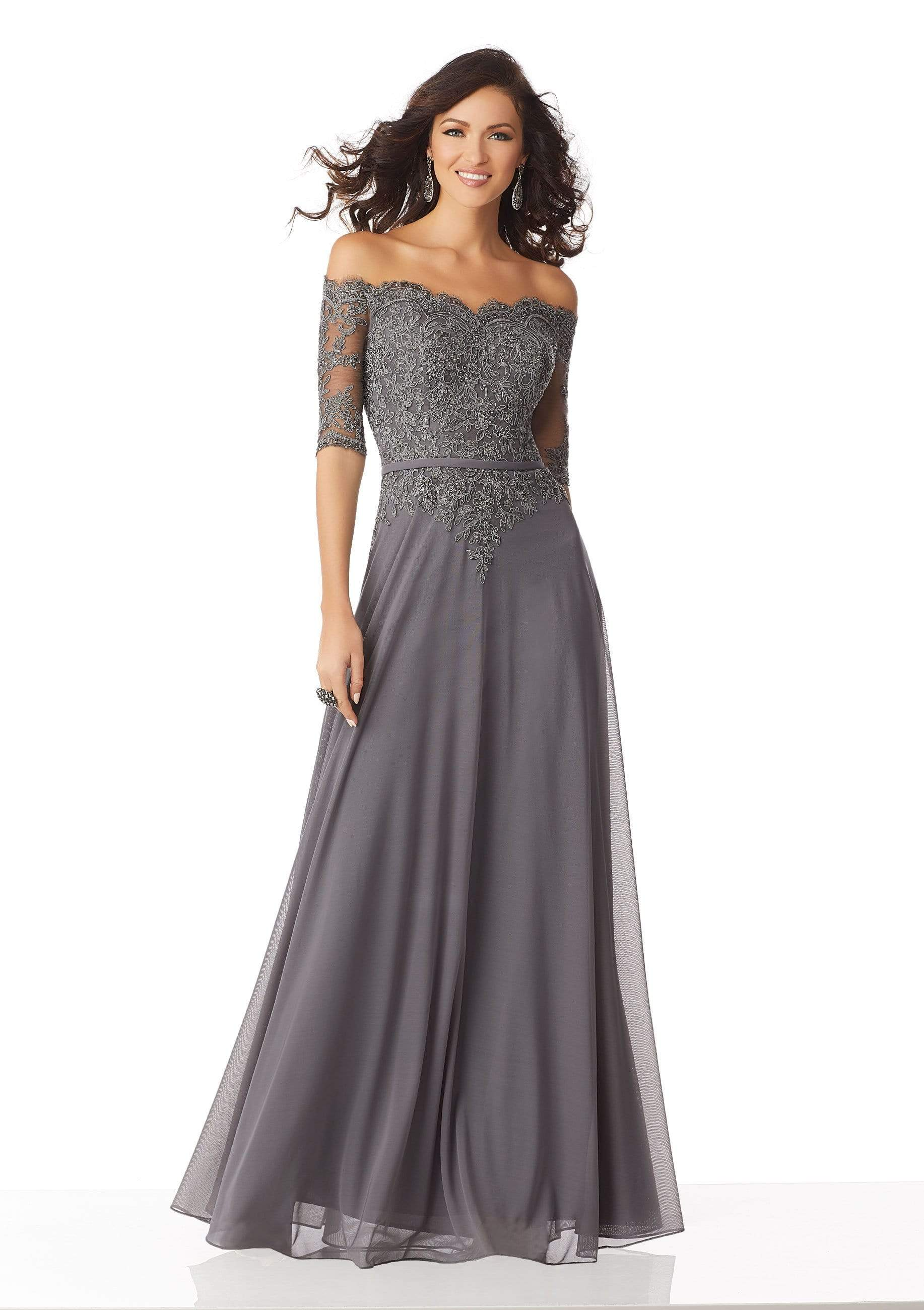 MGNY By Mori Lee - 71822 Beaded Lace Off-Shoulder A-Line Gown Mother of the Bride Dresses 0 / Charcoal