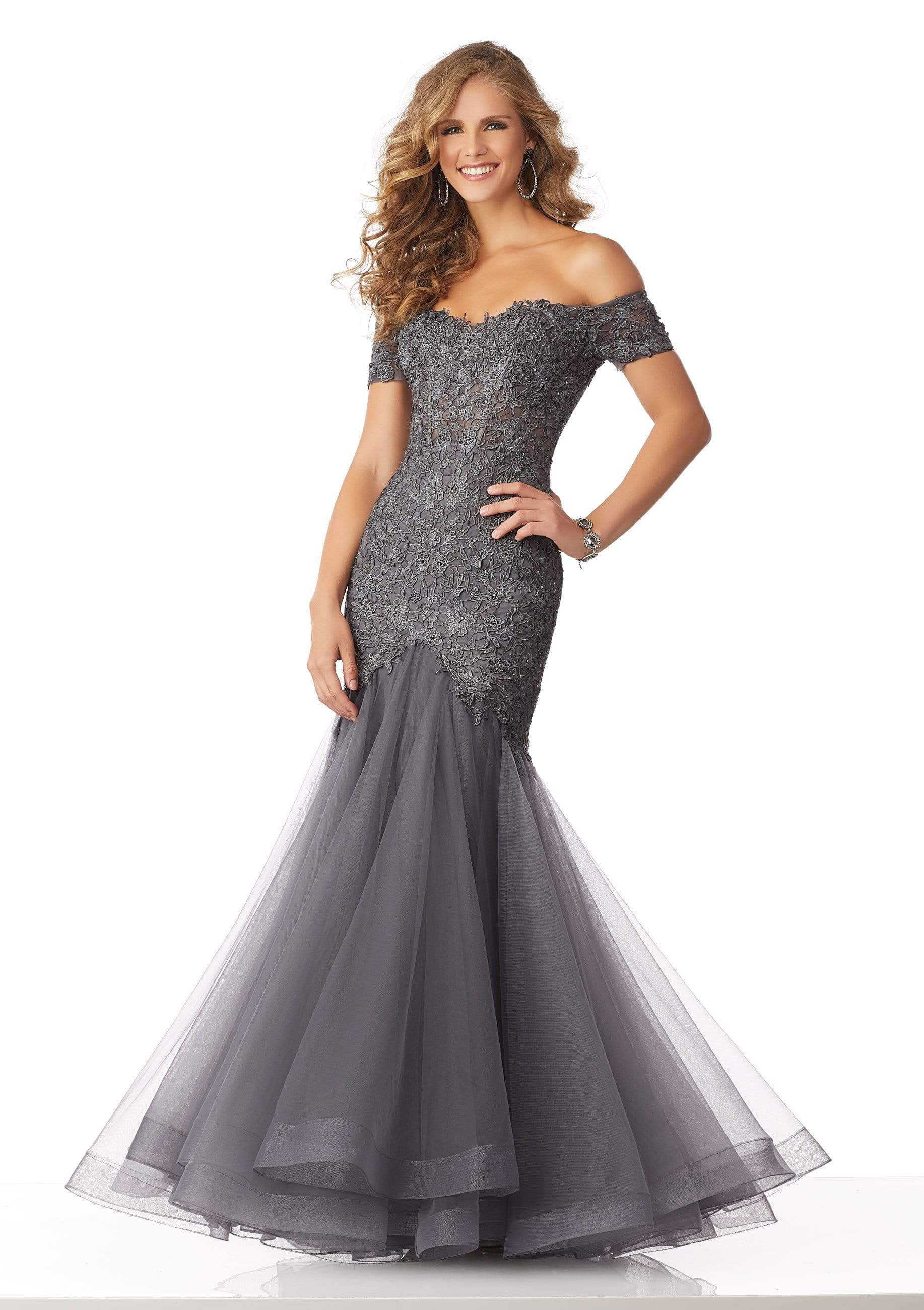 MGNY By Mori Lee - 71825 Lace Appliqued Off-Shoulder Trumpet Dress Pageant Dresses 0 / Charcoal