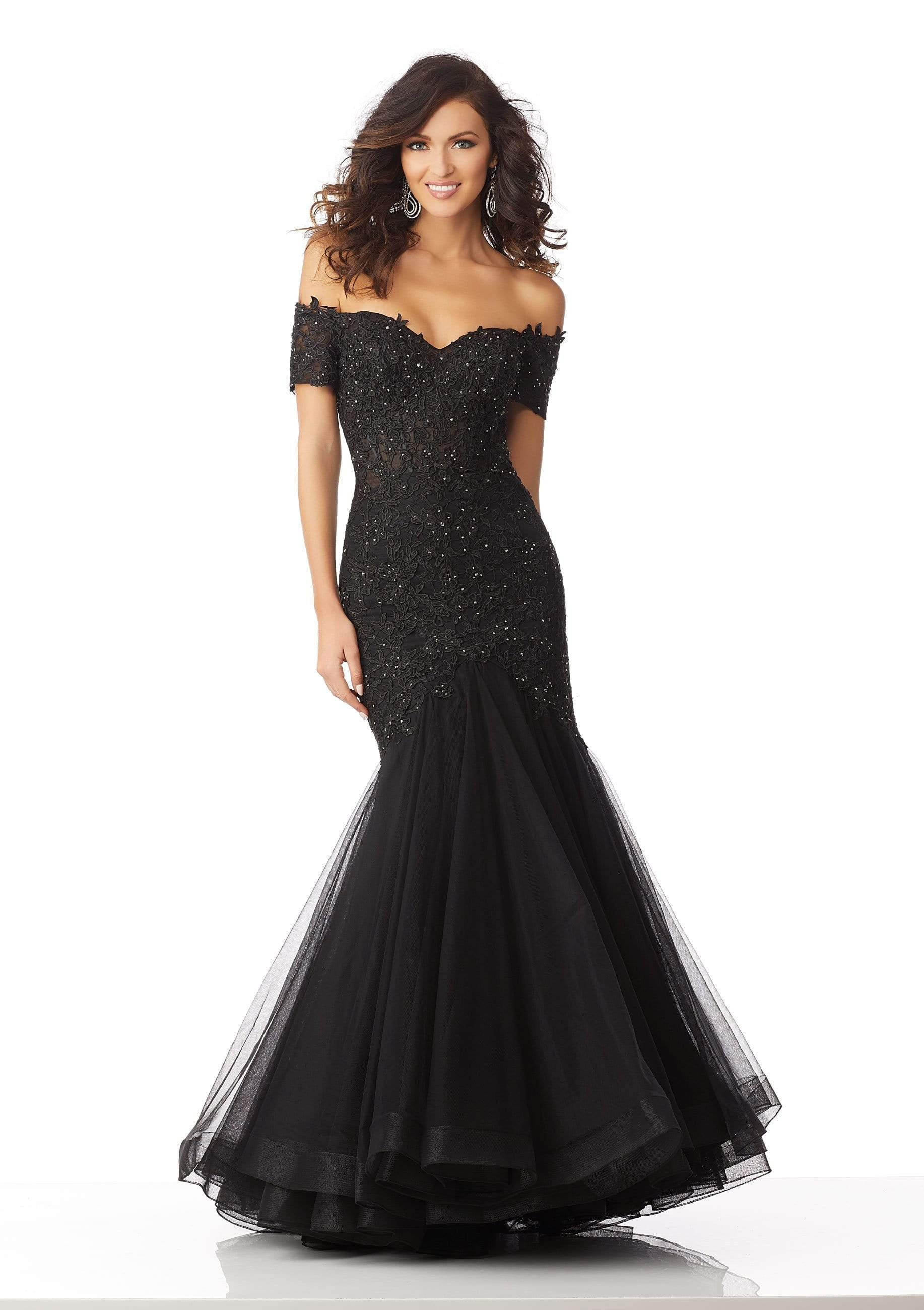 MGNY By Mori Lee - 71825 Lace Appliqued Off-Shoulder Trumpet Dress Pageant Dresses 0 / Black