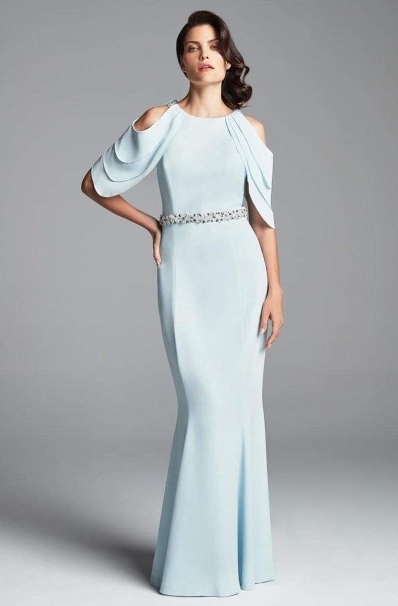 Alexander by Daymor - 350 Cold Shoulder Beaded Waist Sheath Gown Mother of the Bride Dresses 2 / Soft Crystal