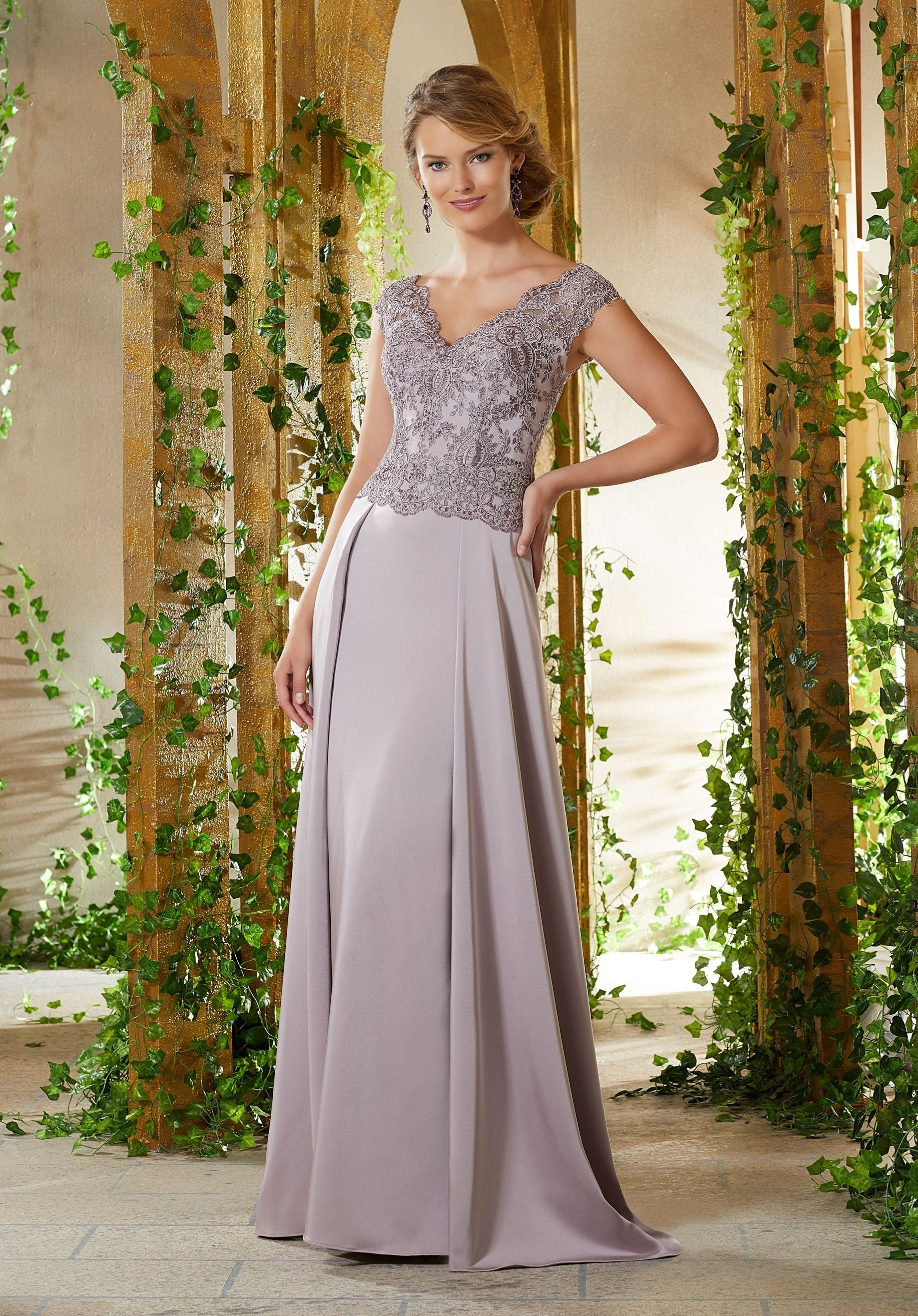 MGNY By Mori Lee - Embroidered V-neck Dress With Train 71906SC In Purple