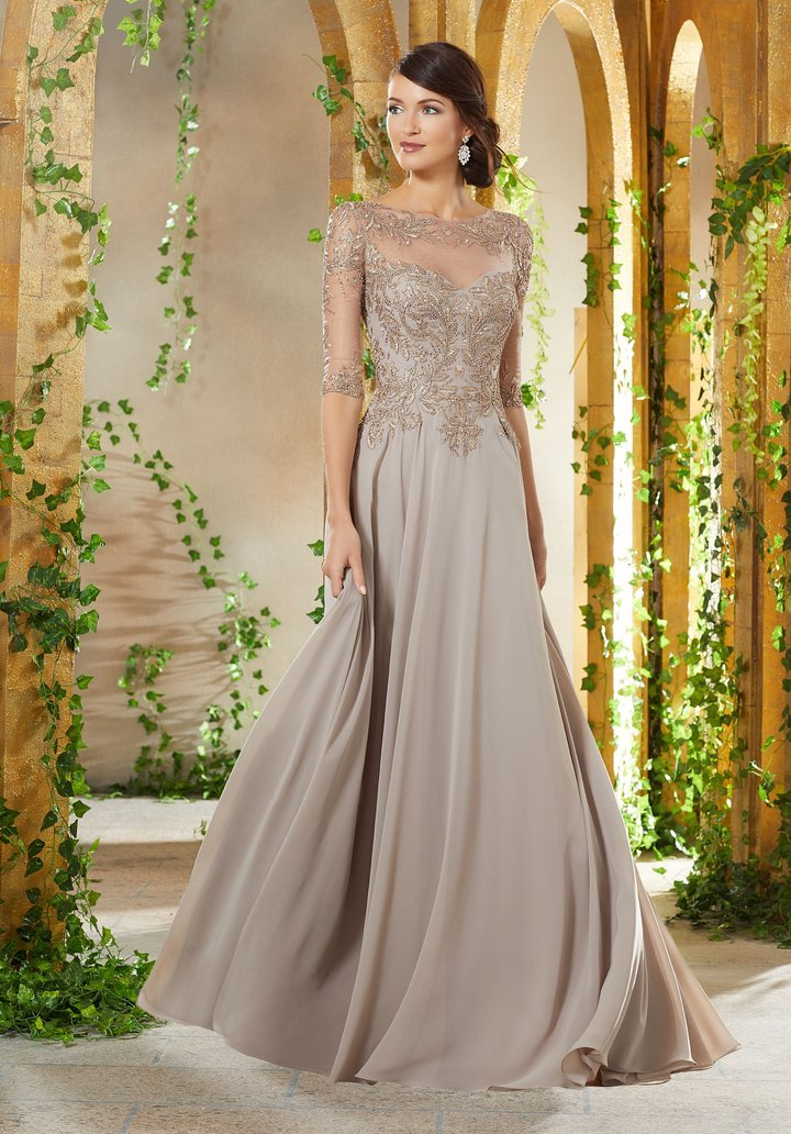 MGNY By Mori Lee - 71908SC Beaded Embroidered Bodice Chiffon Gown