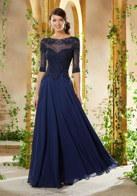 MGNY By Mori Lee - Embroidered Illusion Chiffon A-line Evening Dress 71908 In Blue
