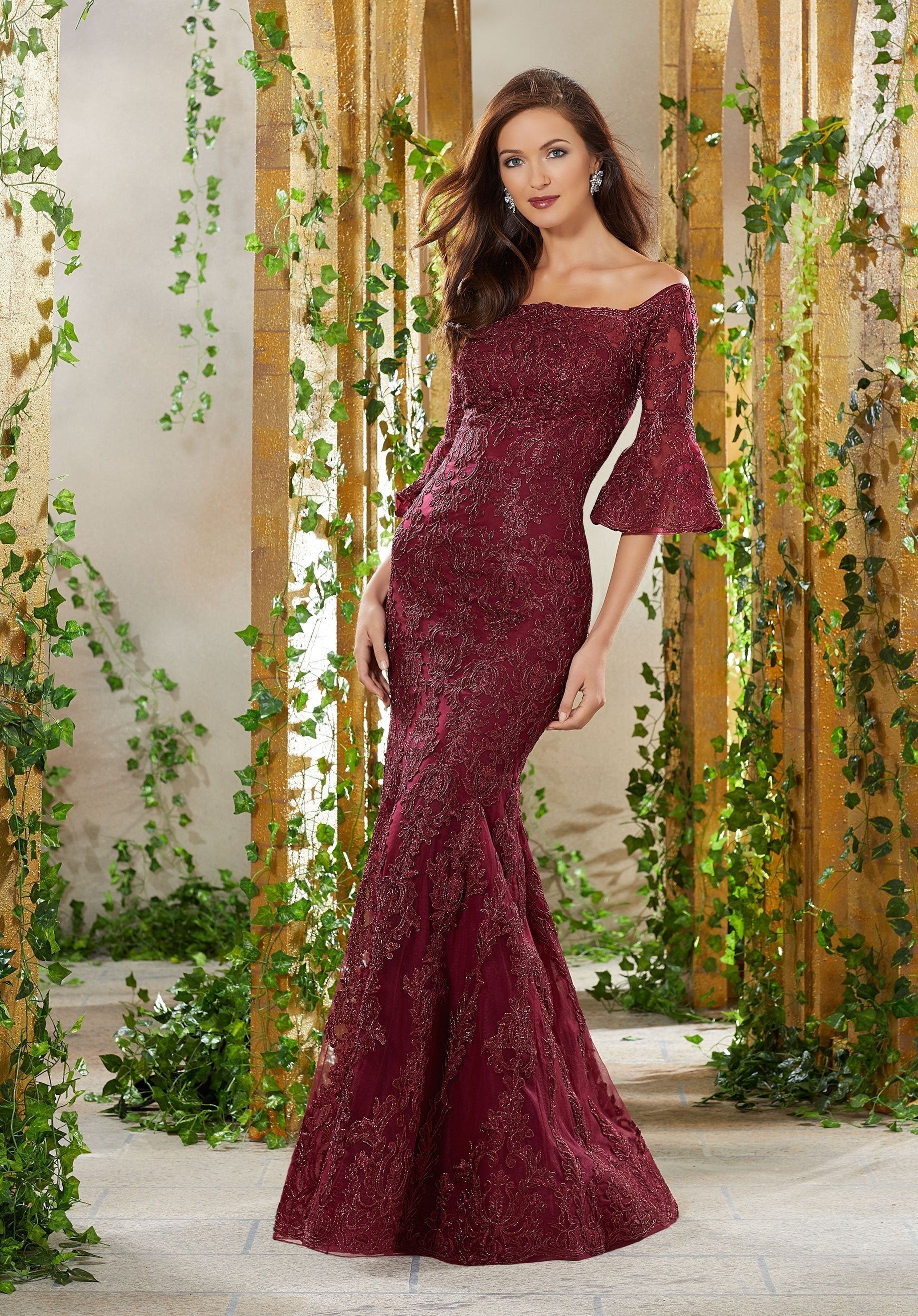 MGNY By Mori Lee - 71930 Metallic Lace Appliqued Off-Shoulder Dress In Red