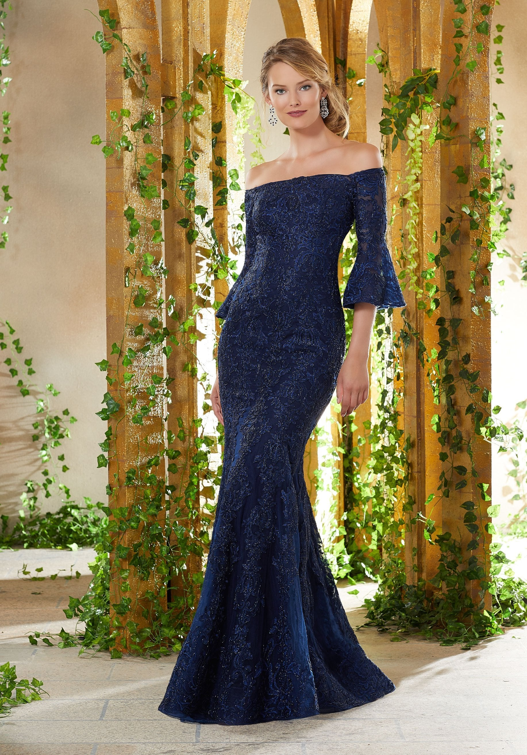 MGNY By Mori Lee - Bell Sleeve Metallic Lace Off-Shoulder Dress 71930SC In Blue