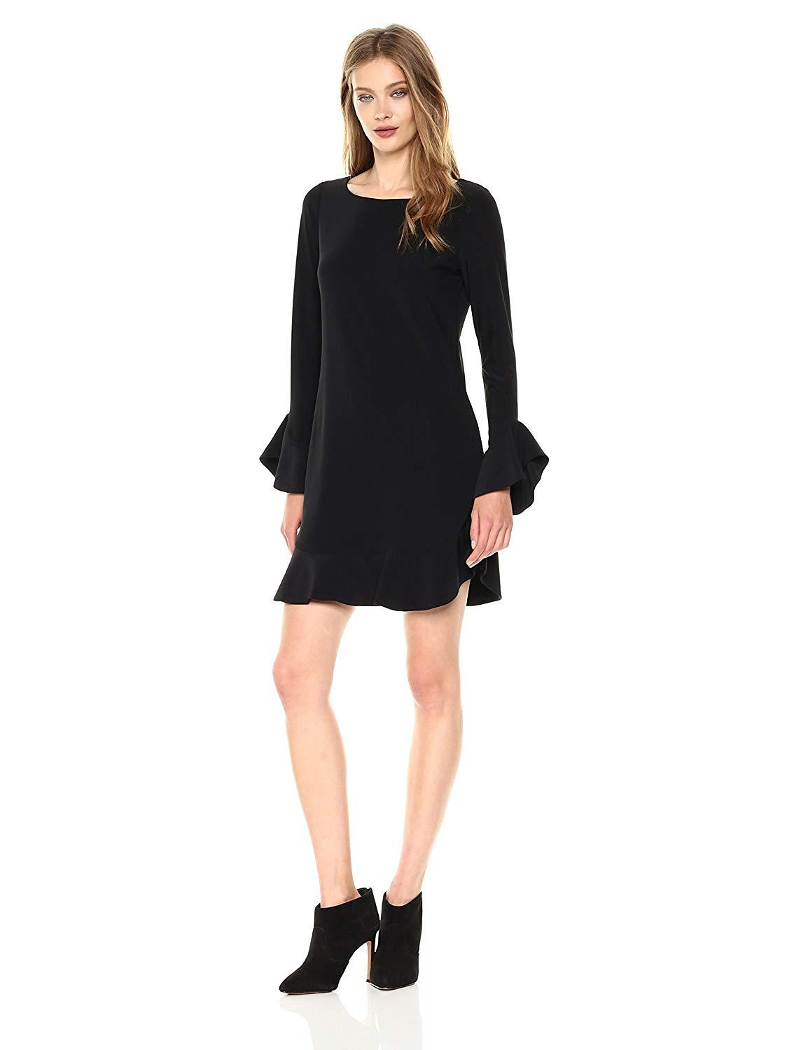 Laundry - 97F34310 Flounce Cuff Long Sleeves Solid Jersey Shift Dress In Black