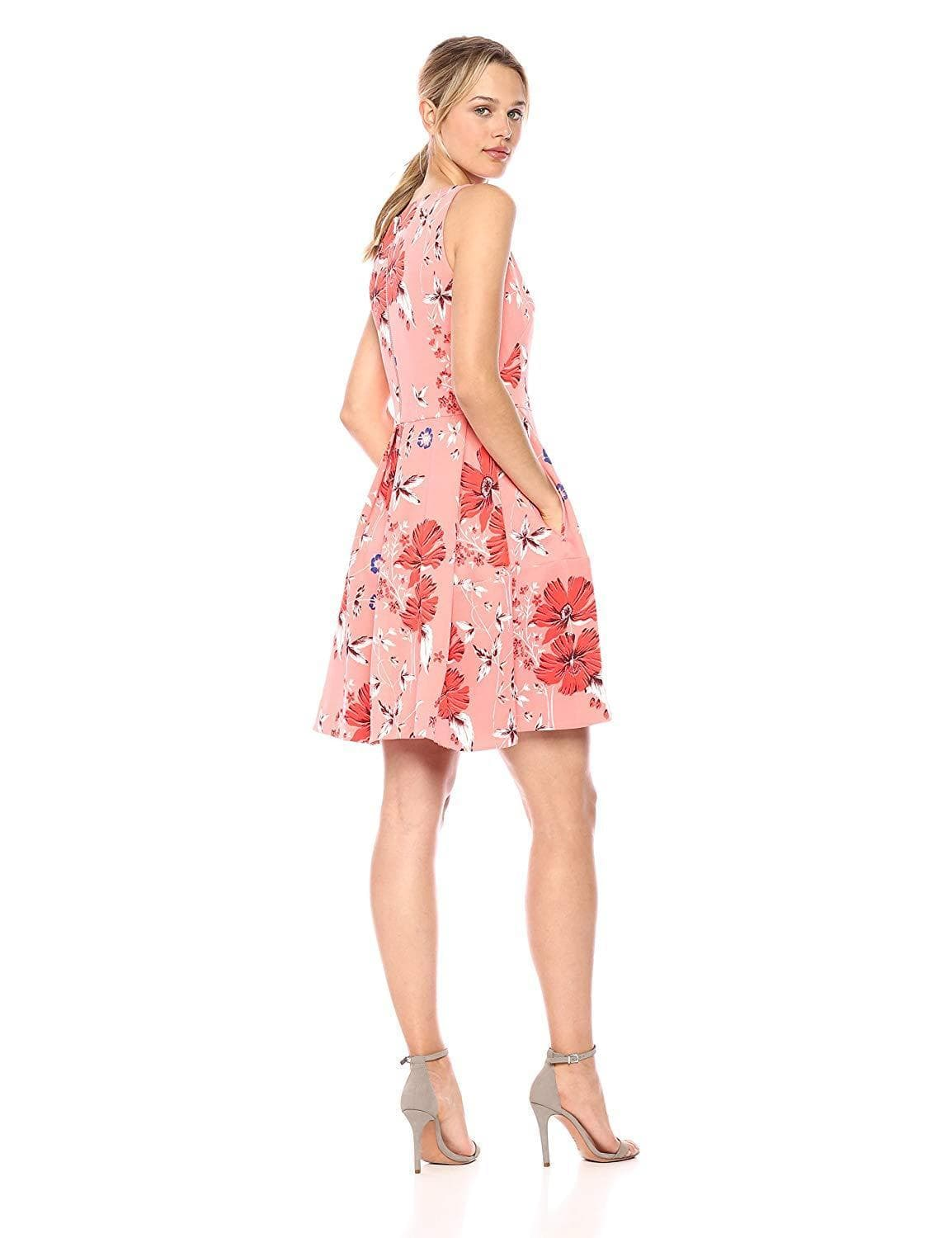 Taylor - 9757MJ Floral Print Short A-Line Dress In Pink and Floral