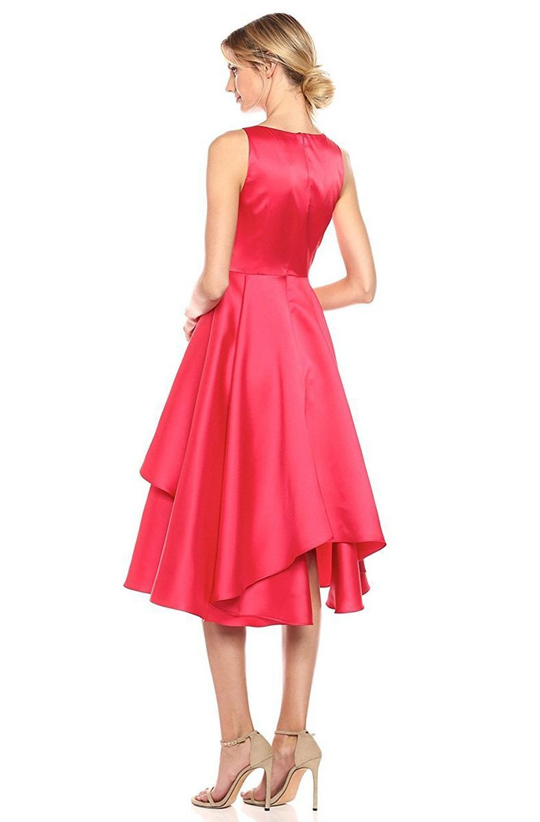 Adrianna Papell - AP1E201685 Sleeveless Tiered Mikado Tea Length Dress in Red