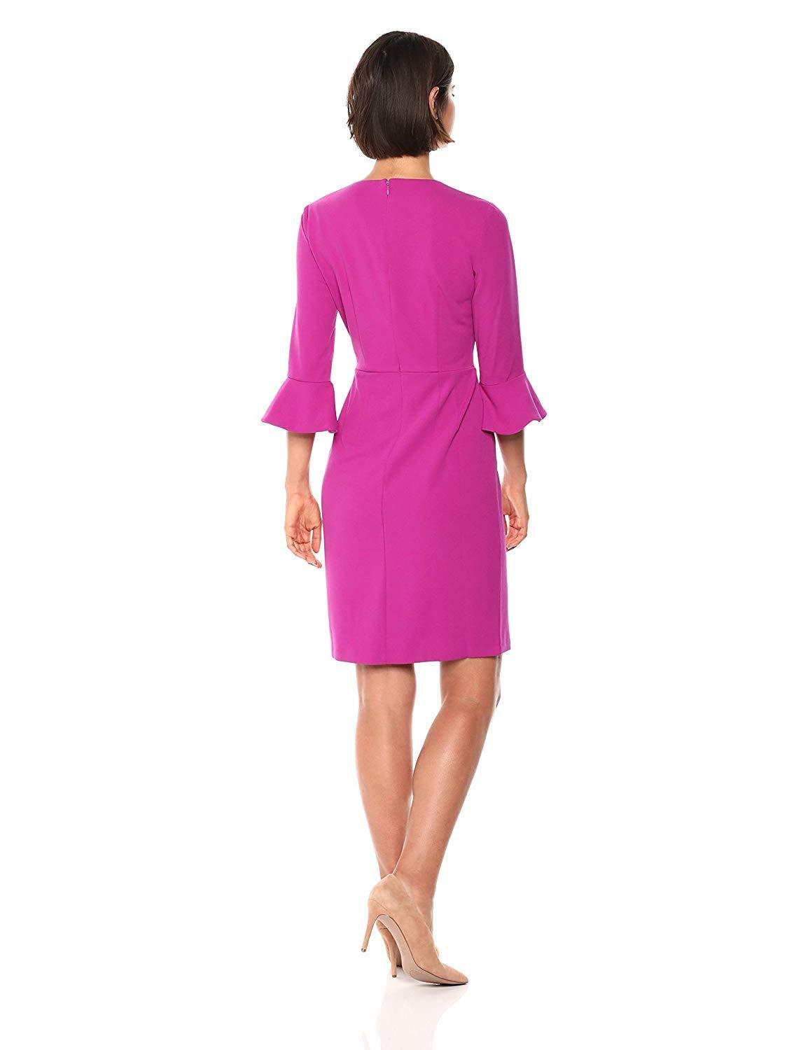 Donna Morgan - D3884M Flounce Sleeve Sheath Cocktail Dress In Pink