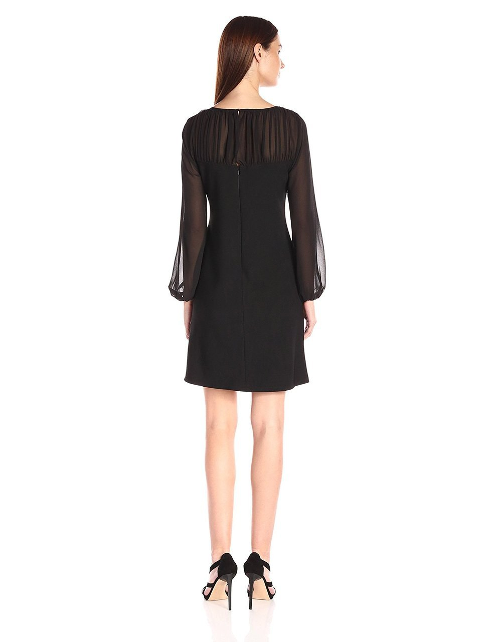 Taylor - Chiffon and Jersey Long Sleeve Dress 5915M in Black