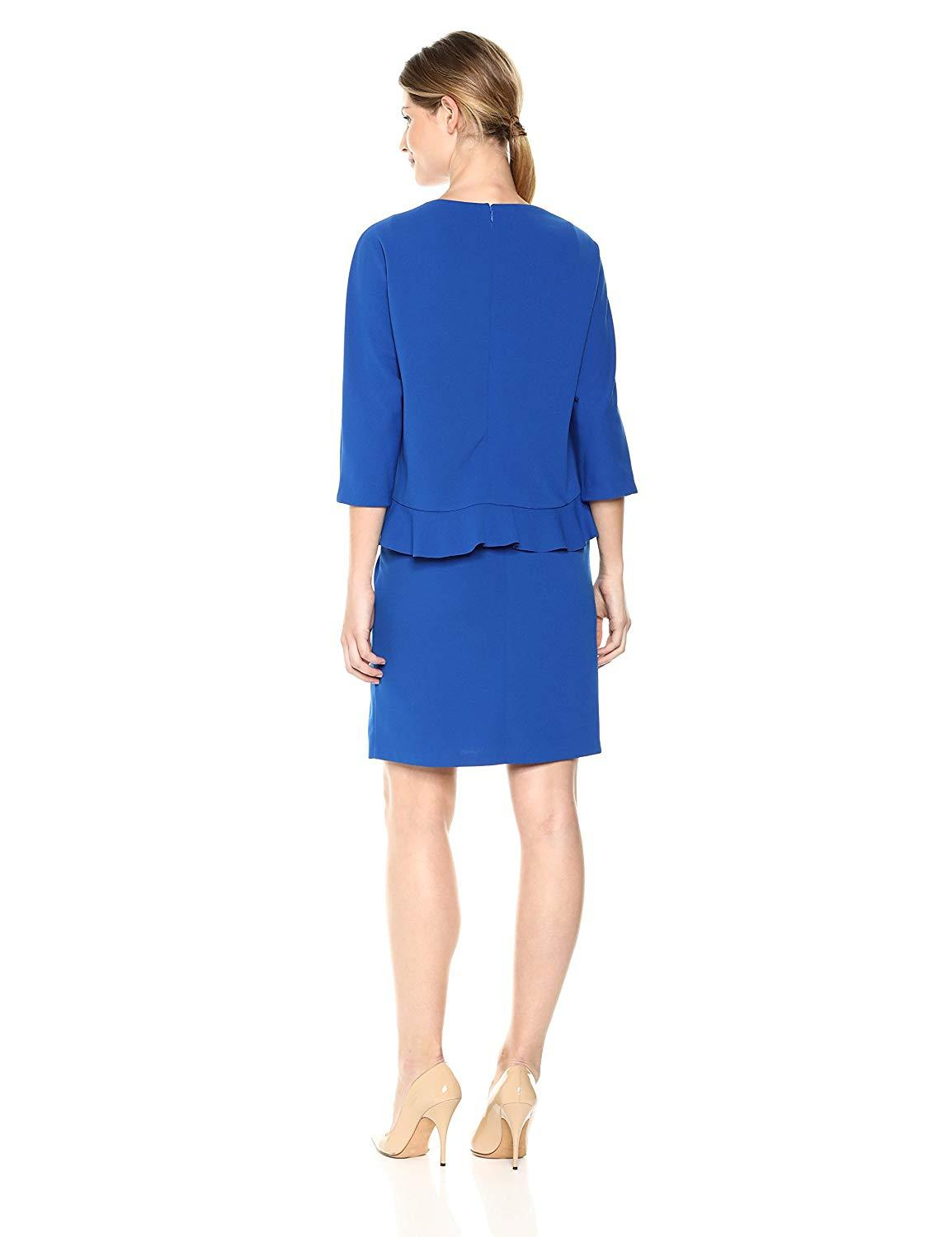 Taylor - 9859M Quarter Sleeve Ruffle-Trimmed Popover Dress In Blue