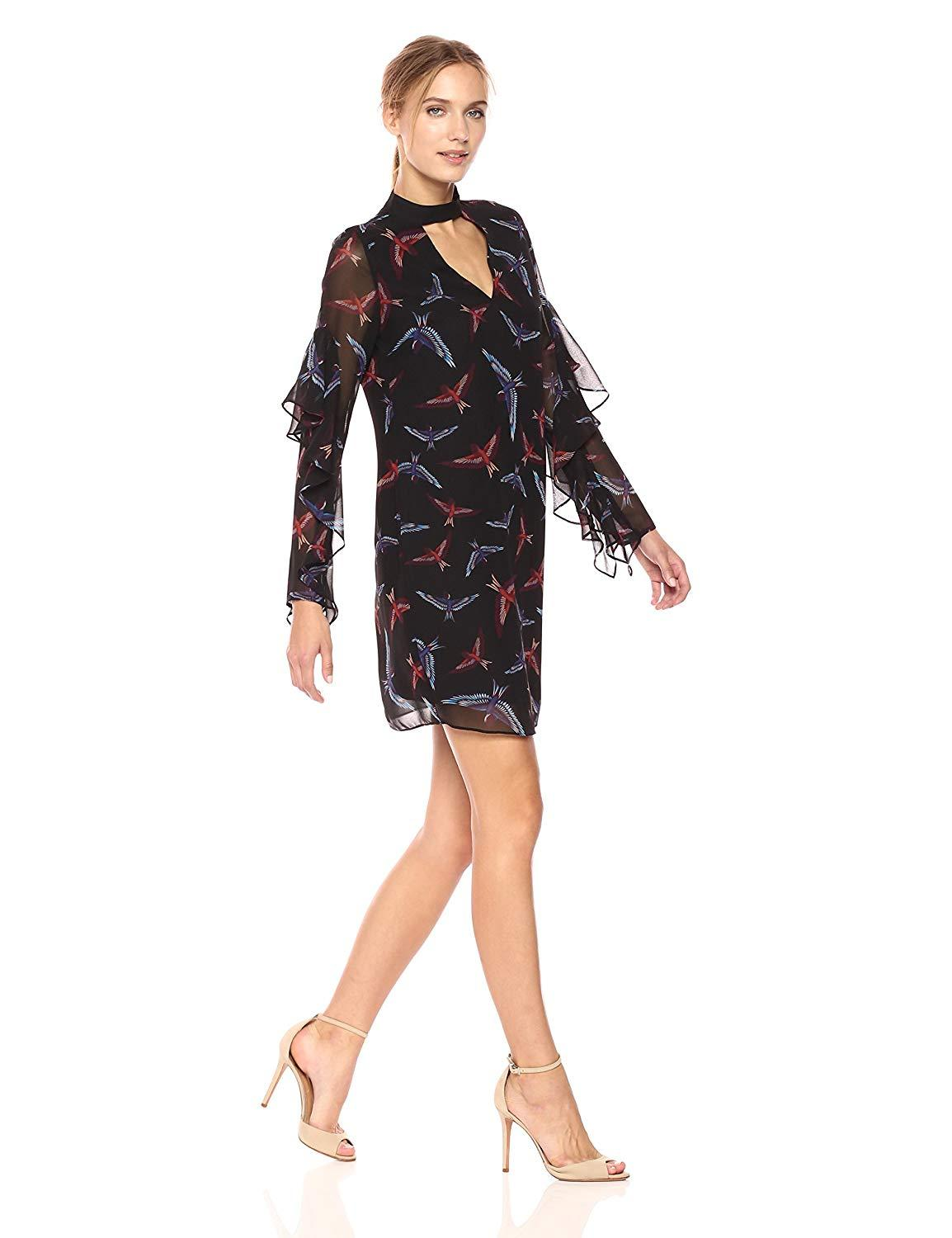 Sam Edelman - 64H091 Bird Print Choker Cutout Chiffon Dress In Black and Print