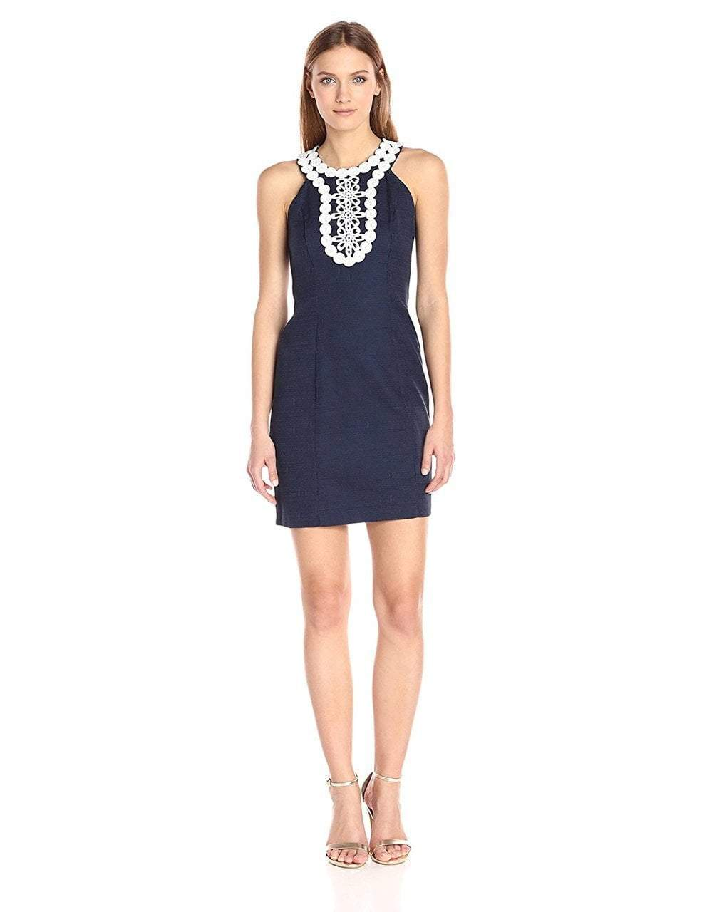 Taylor - Embellished Halter Neck Dress 8814M in Blue