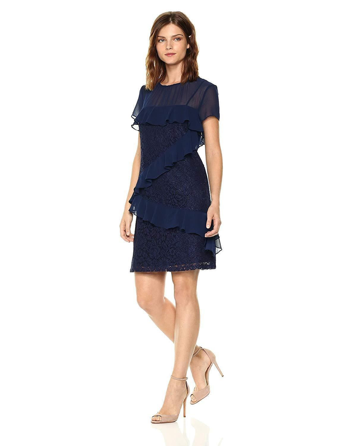 Donna Morgan - D5578M Floral Lace Ruffled Sheath Dress In Blue