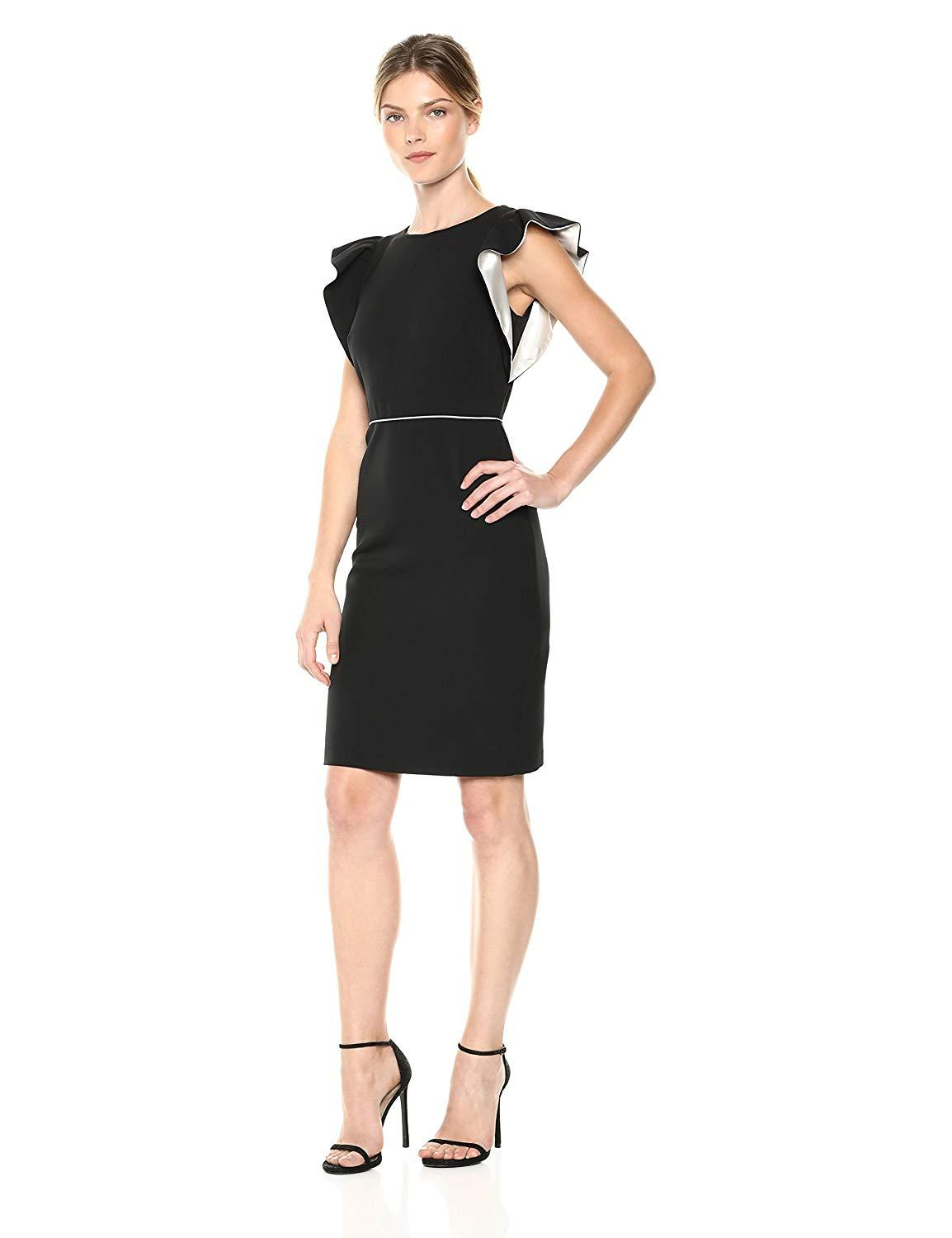 Taylor - 9794M Knee Length Flutter Sleeve Sheath Dress In Black and White