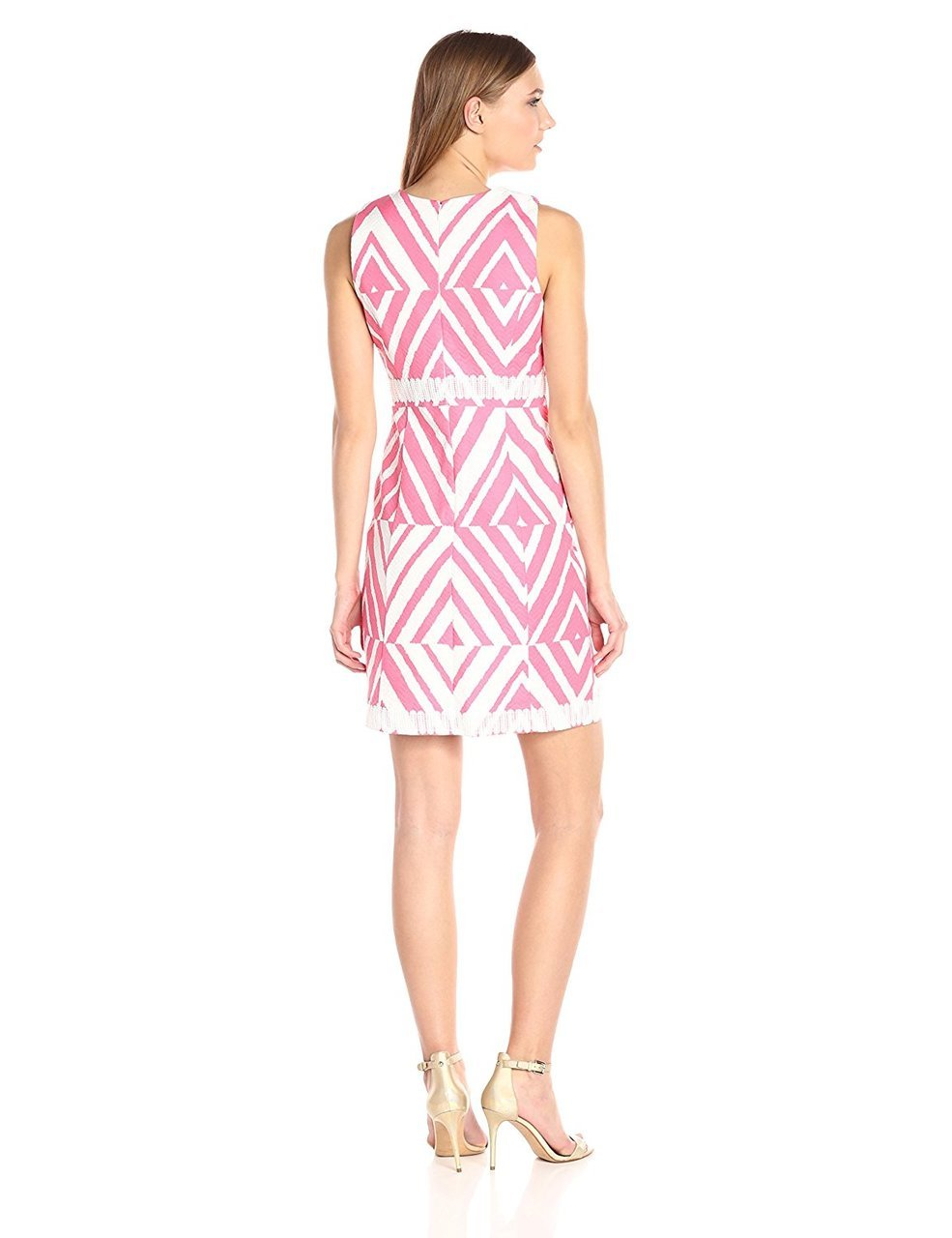 Taylor - Embellished Printed Sheath Dress 8773M in Pink and White