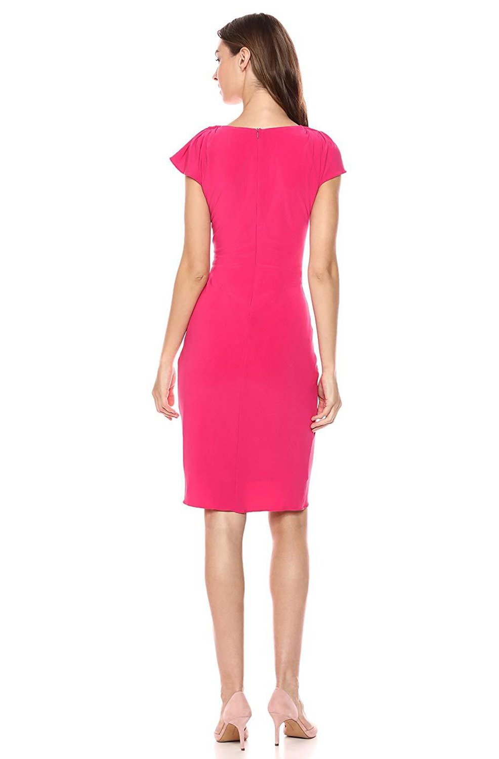 Taylor - 9780MJ Twist Knot Flutter Sleeve Jersey Dress In Pink