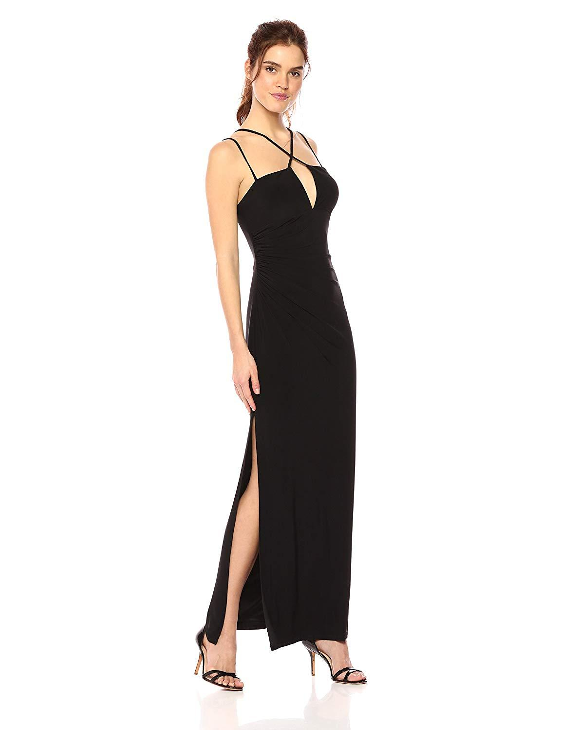 Laundry - 97R25440 Crisscross Front High Slit Jersey Gown In Black