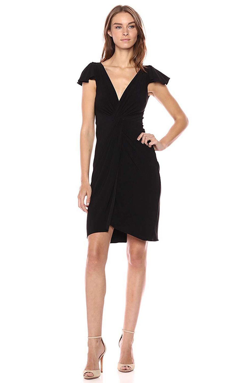 Taylor - 9780MJ Twist Knot Flutter Sleeve Jersey Dress In Black