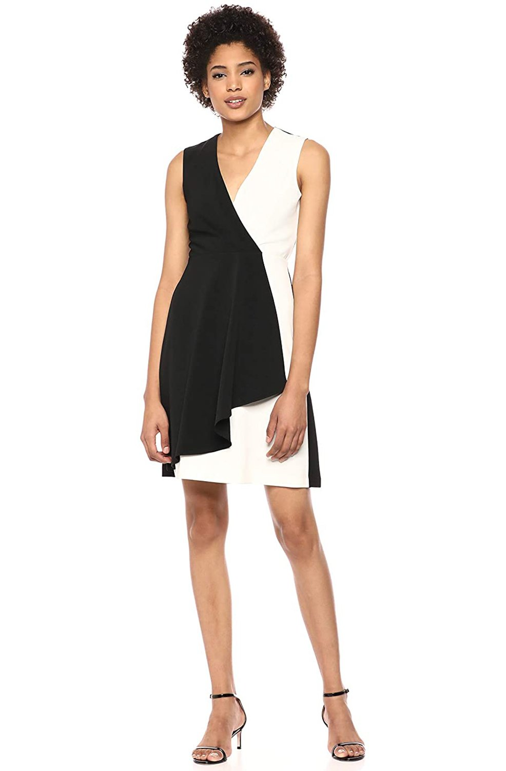 Taylor - 1240M Two Tone V-neck Pleated A-line Dress In Black and White