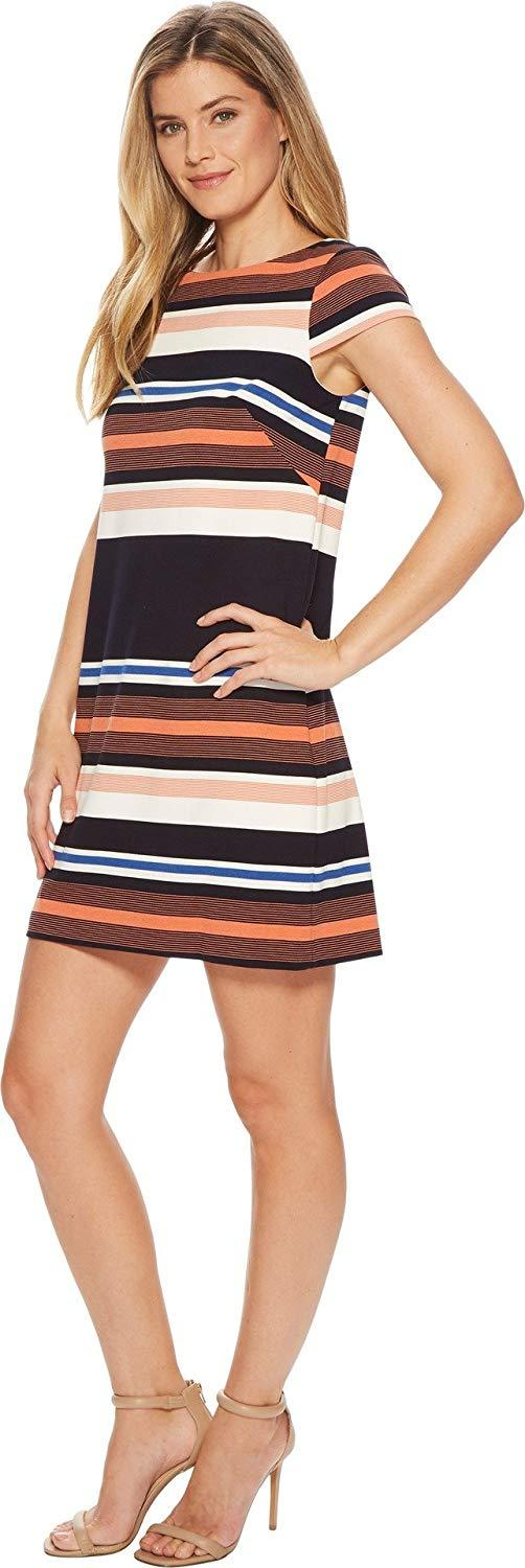 Adrianna Papell - AP1D102296 Striped Bateau A-Line Dress In Orange and Multi-Color