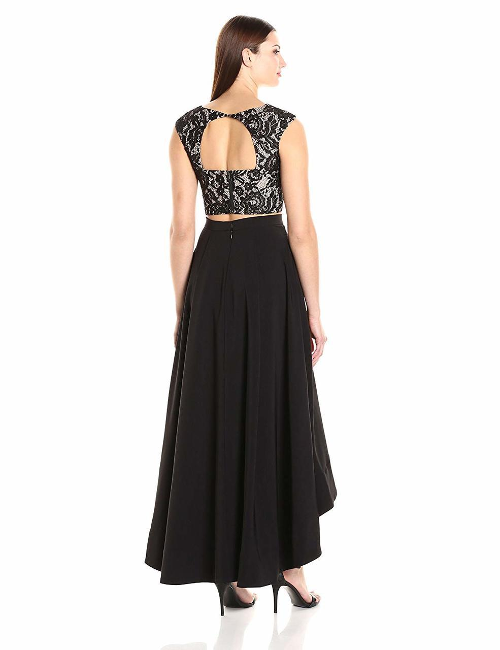 Aidan by Aidan Mattox - MN1E200681 Two Piece Lace High Low A-line Gown in Black and Neutral
