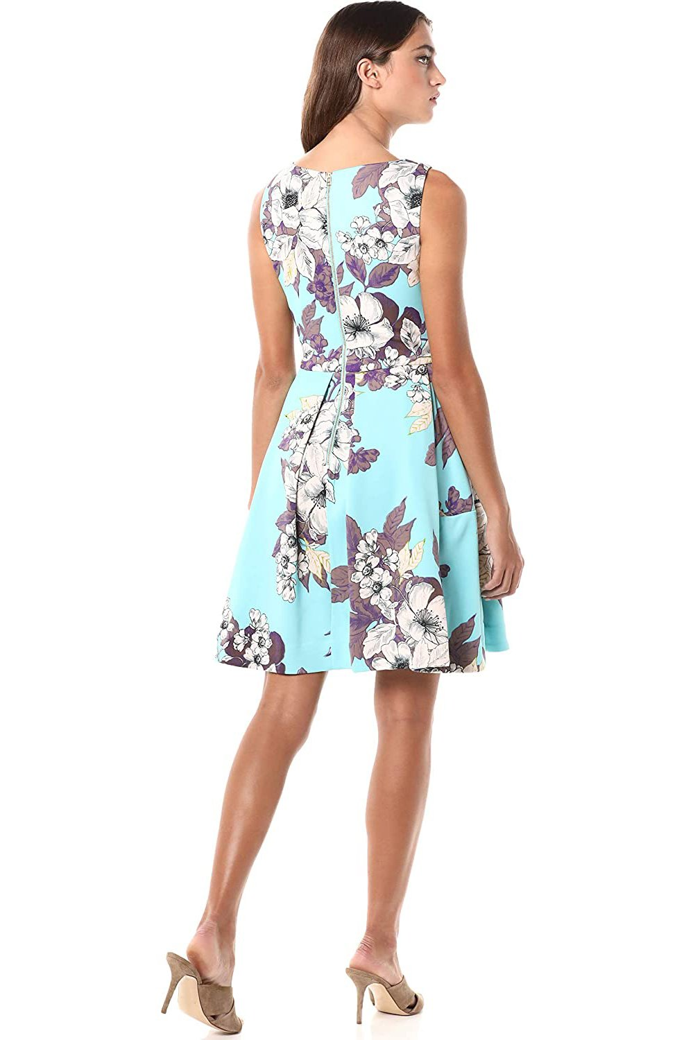 Taylor - 1308M Floral Print Scuba Pleated A-line Dress In Green and Multi-Color