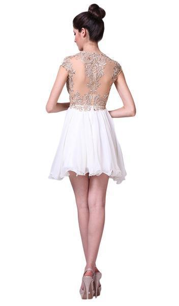 Cinderella Divine - Lace Appliqued Bodice Empire Waist Cocktail Dress 71 In White and Neutral