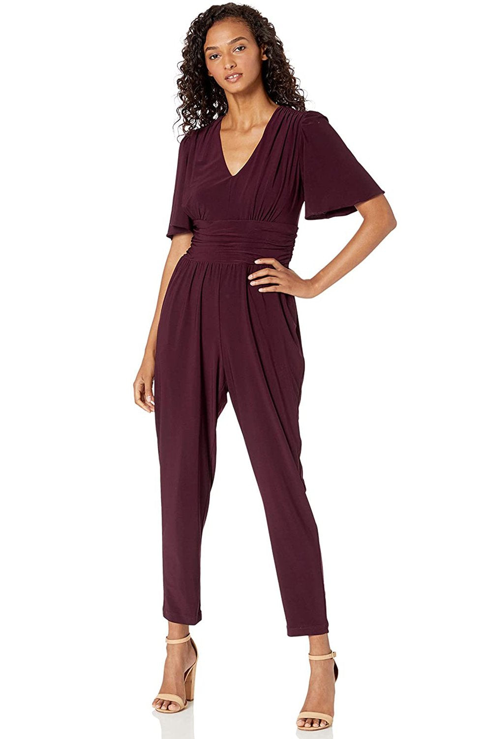 Taylor - 1564M Short Sleeve Ruched Tapering Jumpsuit In Red