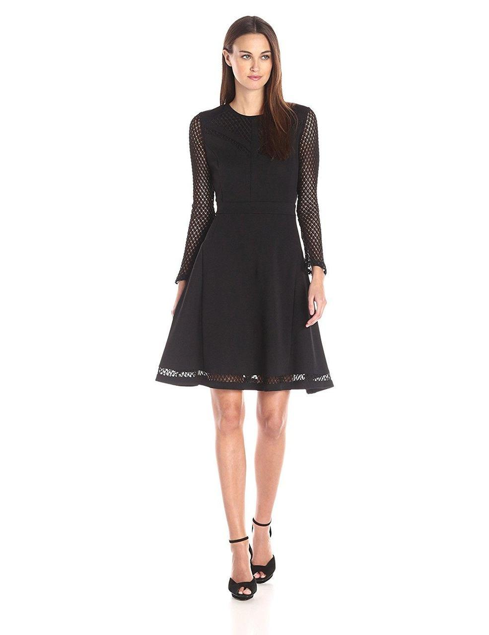Adrianna Papell - Lace Jewel Neck A-line Dress 15247150 in Black