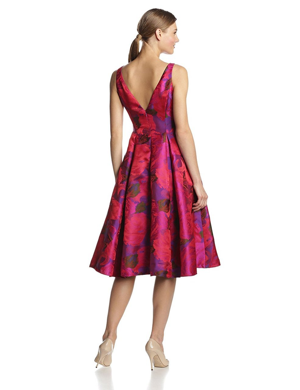 Adrianna Papell - 41889270 Tea-Length Jacquard Floral Print Dress in Pink and Floral