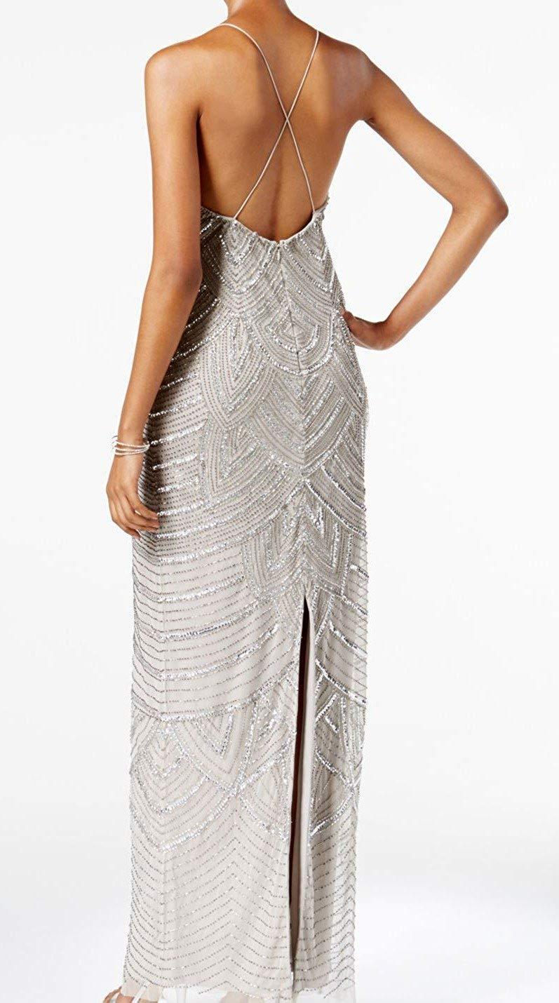 Adrianna Papell - AP1E202208 Sequin Embellished V-Neck Dress In Silver
