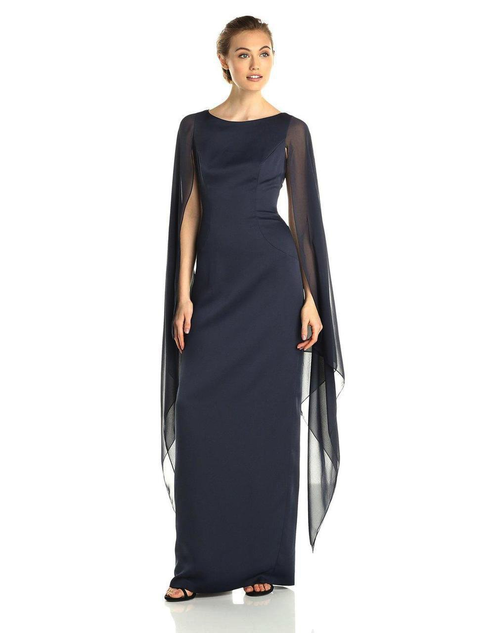 Adrianna Papell - 81917310 Fitted Bateau Dress with Cape in Black