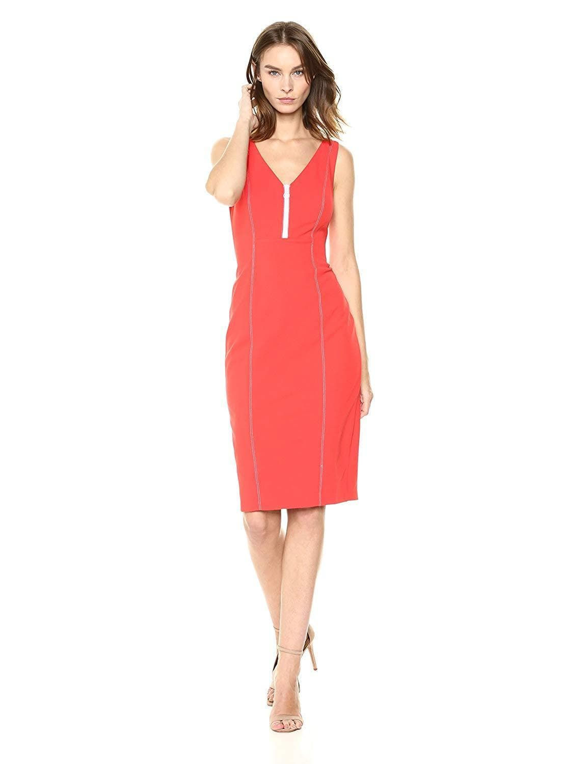 Donna Morgan - D6010M V-neck Stretch Crepe Sheath Dress In Red