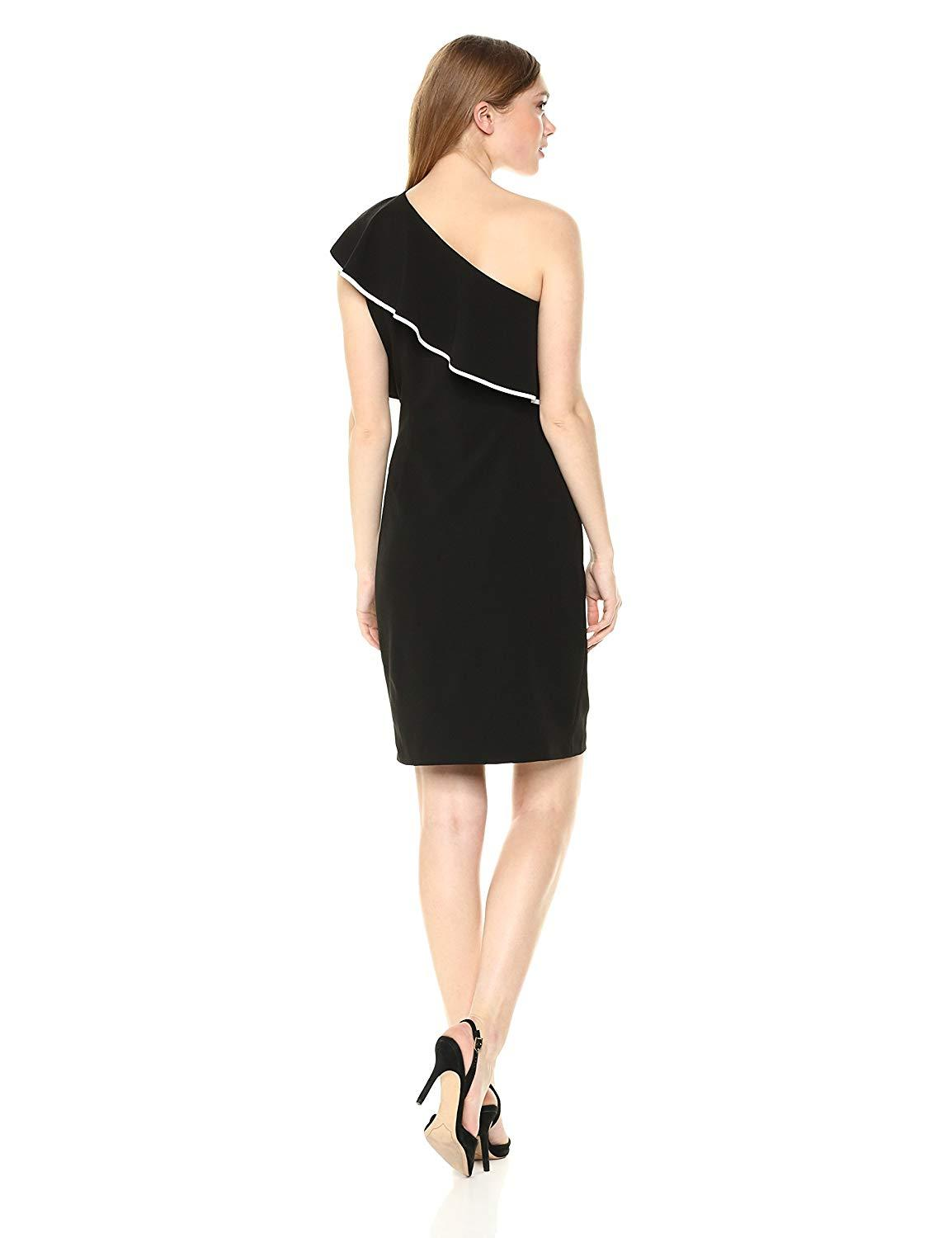 Adrianna Papell - AP1D102025 One Shoulder Popover Cocktail Dress In Black and White