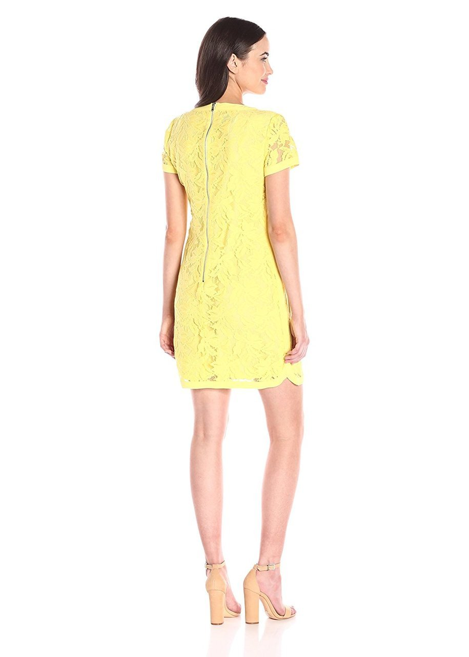 Donna Morgan - D3287M Floral Lace Short Sleeve Dress in Yellow