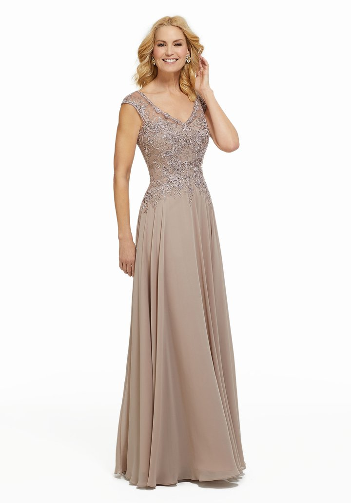 MGNY By Mori Lee - 72021SC Beaded Lace V-neck Chiffon Evening Dress