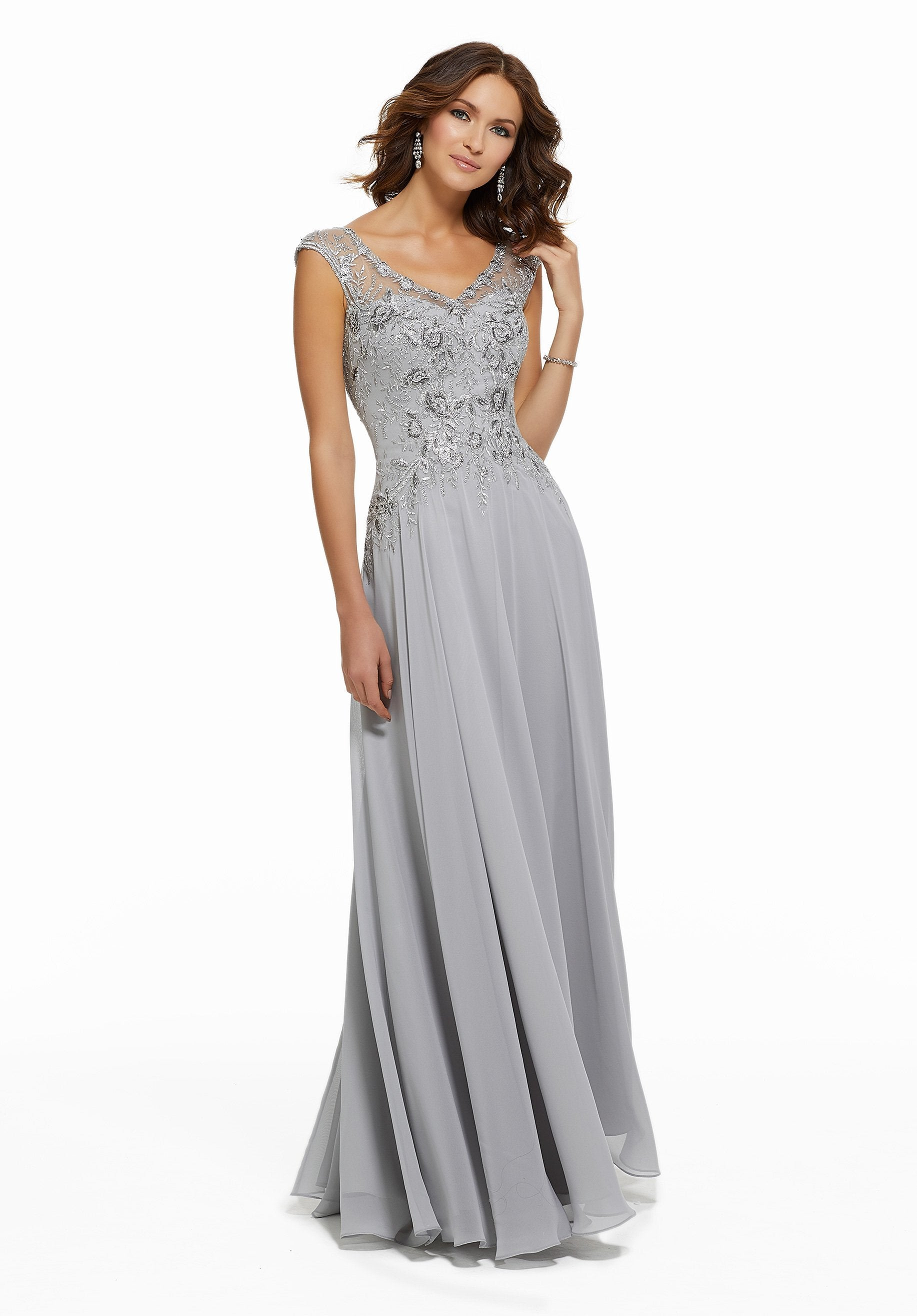MGNY By Mori Lee - Beaded Lace V-neck A-line Chiffon Evening Dress 72021SC In Silver