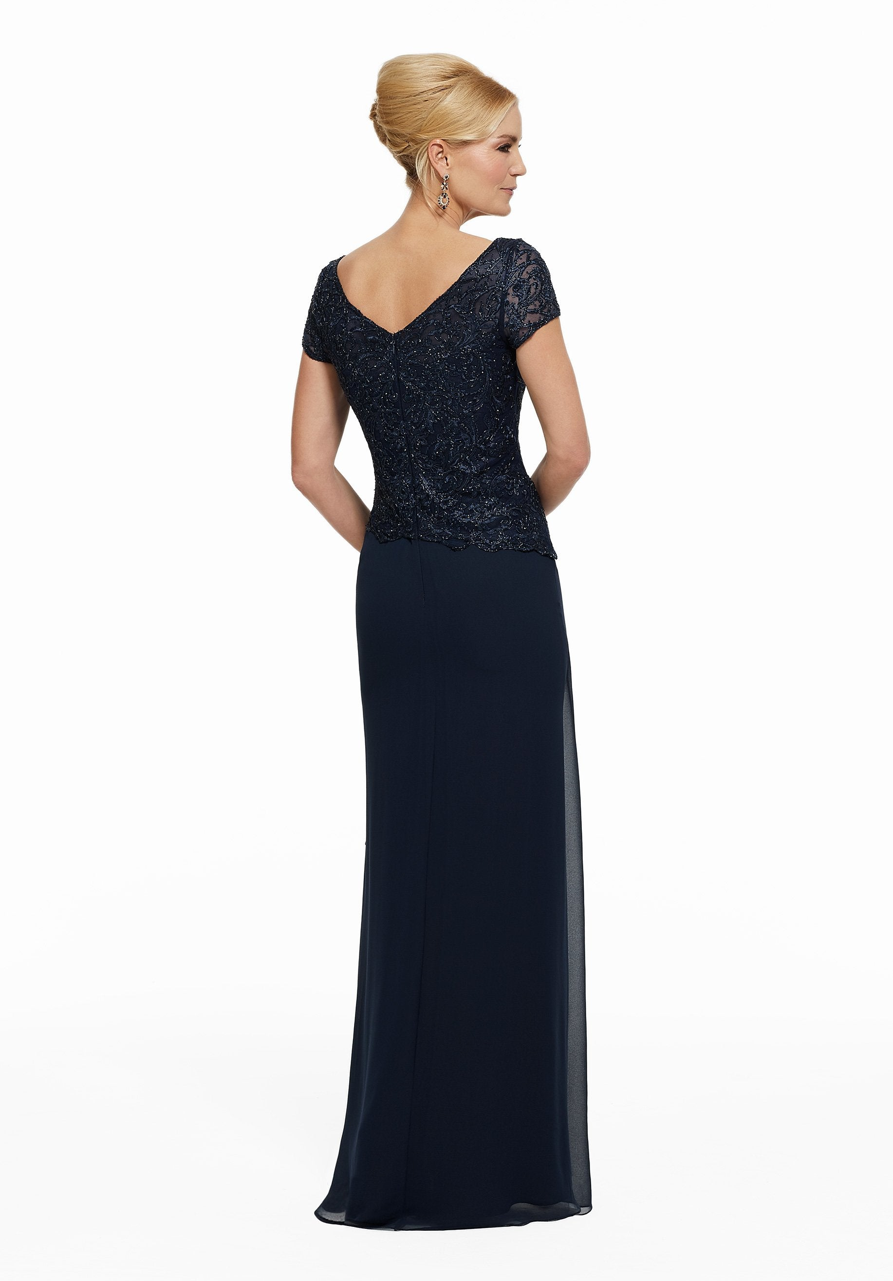 MGNY By Mori Lee - Beaded Lace V-Neck Sheath Evening Gown 72022SC In Blue