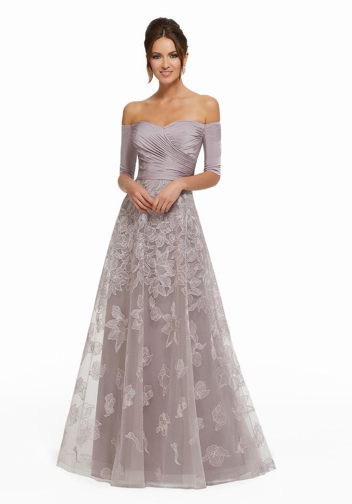 MGNY By Mori Lee - Pleated Off-Shoulder Embroidered A-line Gown 72025SC In Purple