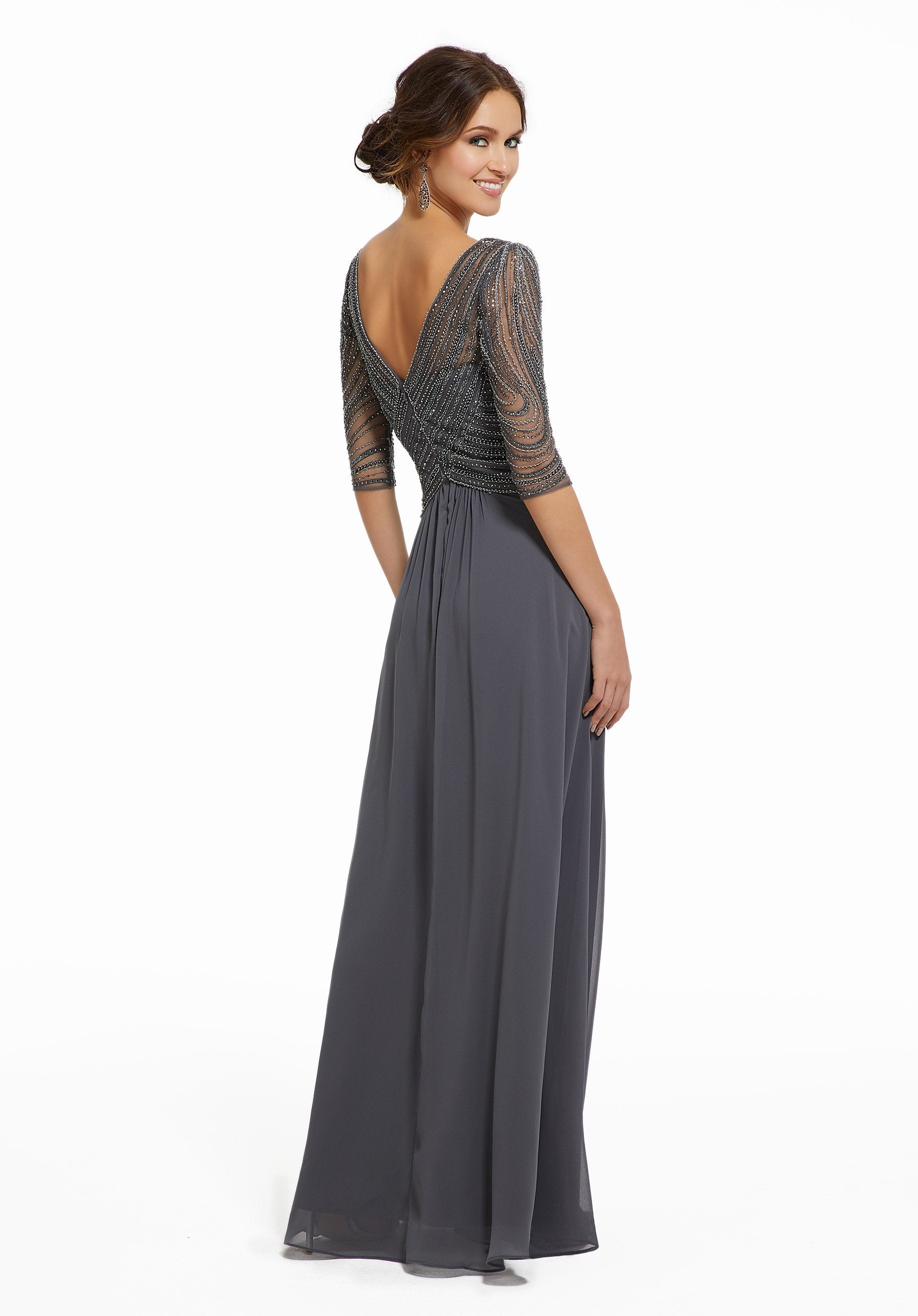 MGNY By Mori Lee - Beaded V-Neck A-Line Long Gown 72028 In Gray
