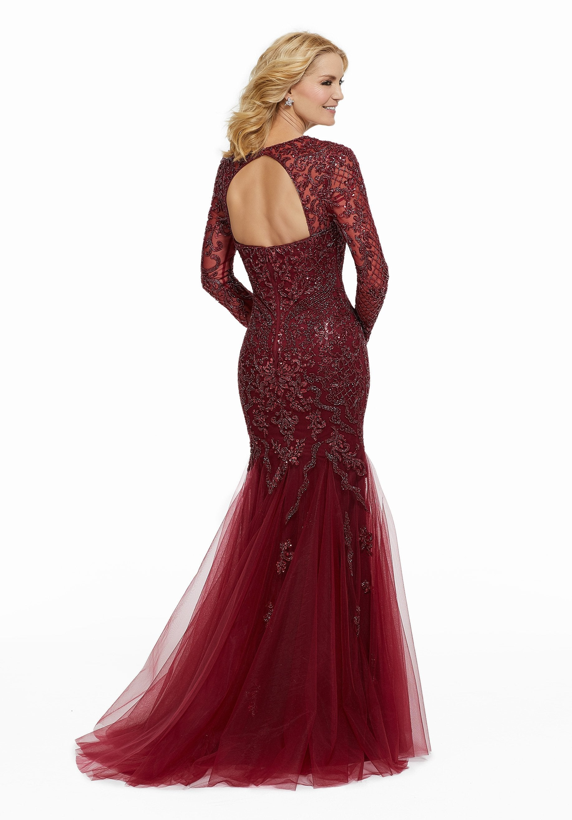 MGNY By Mori Lee - Beaded Sweetheart Long Sleeve Trumpet Gown 72036 In Red