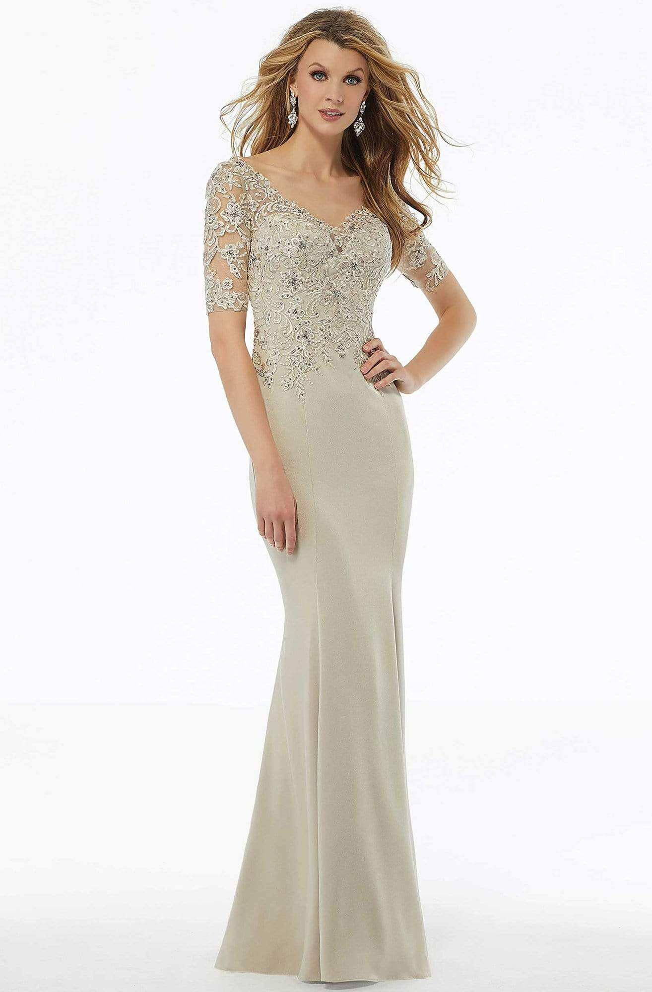 MGNY By Mori Lee - 72108 Beaded Lace Crepe Sheath Dress Mother of the Bride Dresses 2 / Champagne