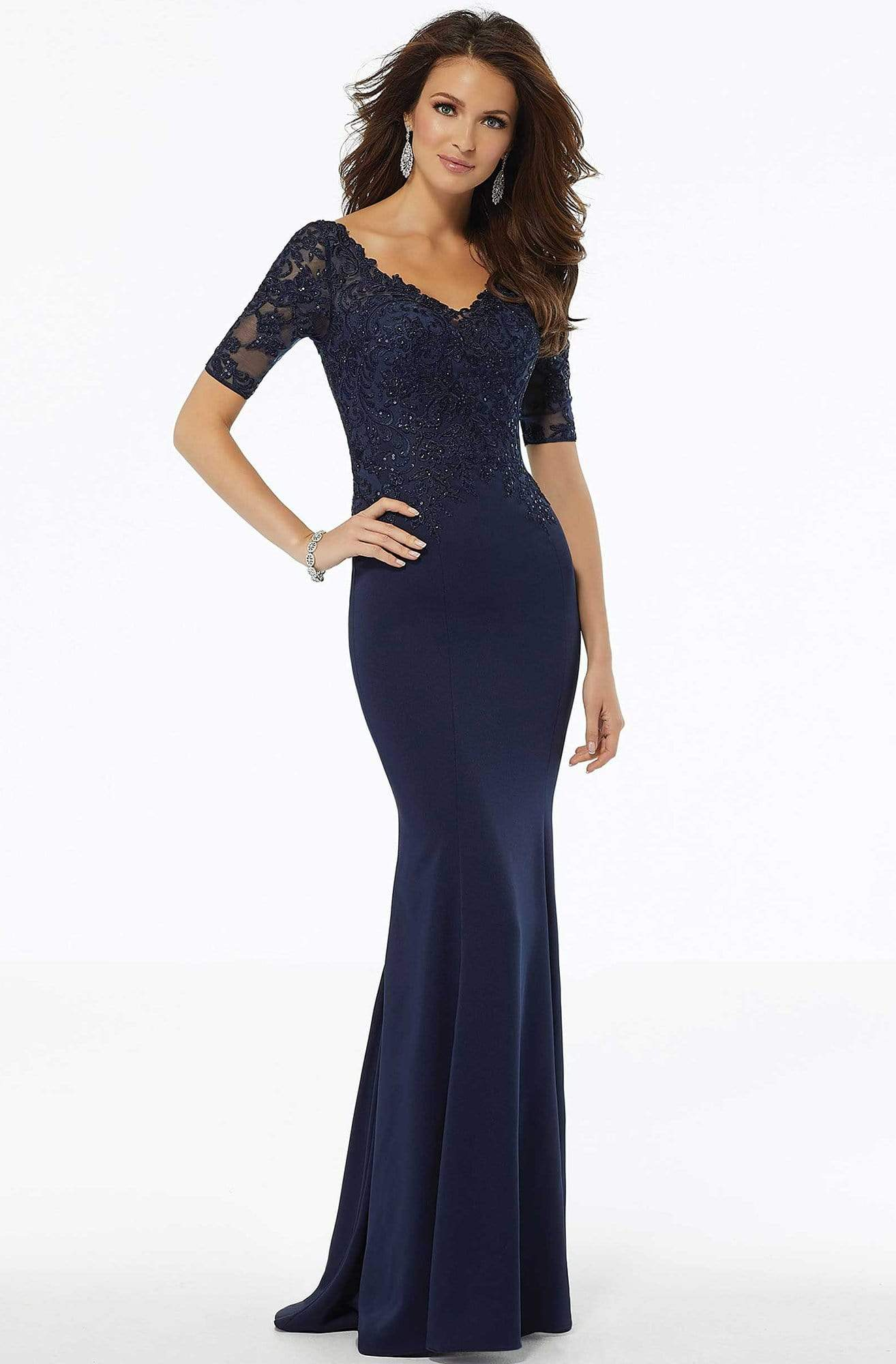 MGNY By Mori Lee - 72108 Beaded Lace Crepe Sheath Dress Mother of the Bride Dresses 2 / Navy