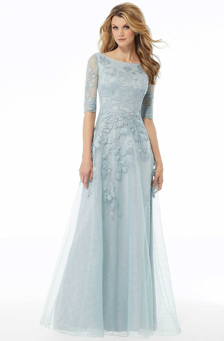 MGNY By Mori Lee - Sequin Embroidered Bateau A-line Gown 72122 In Blue