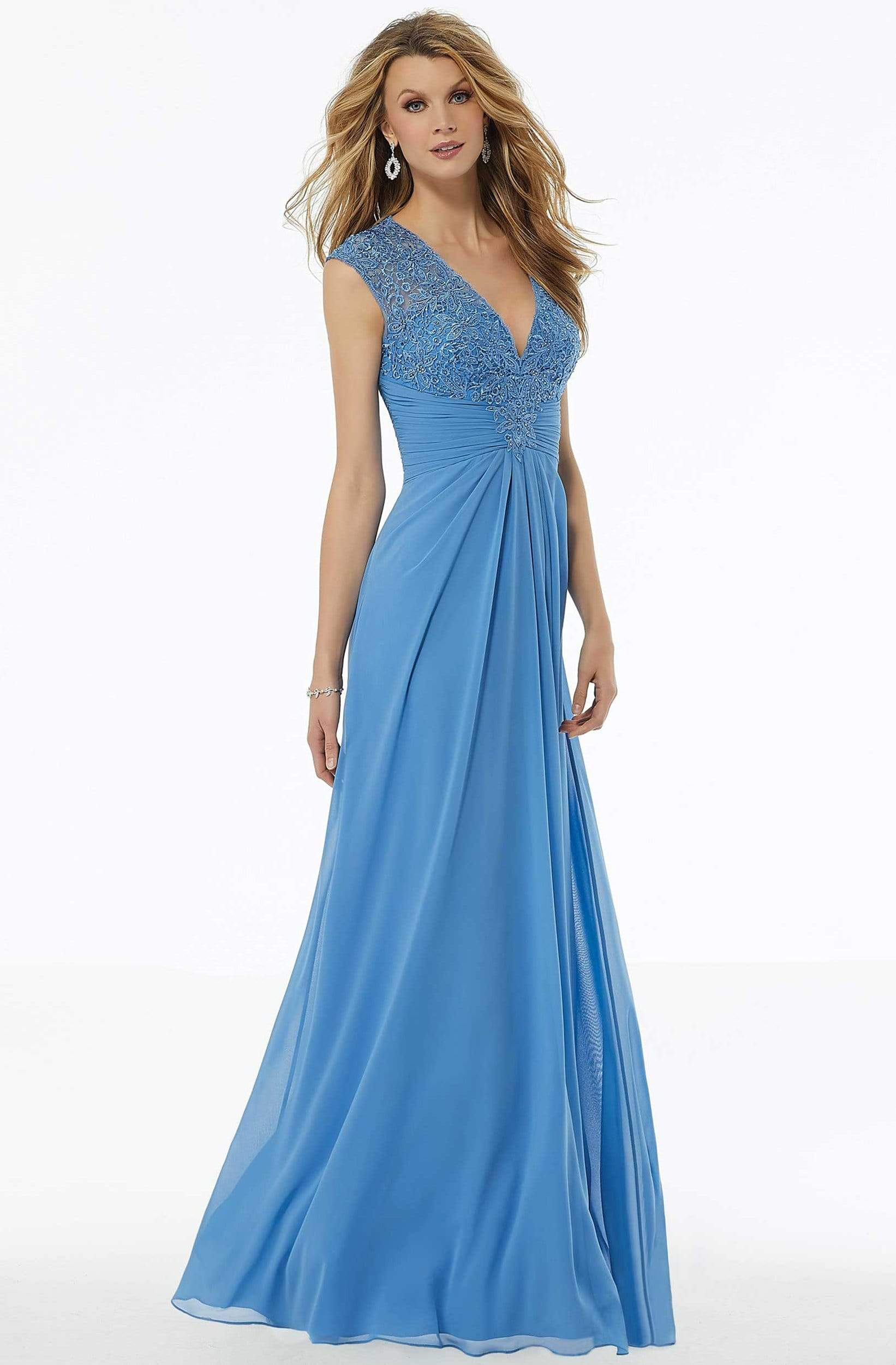 MGNY By Mori Lee - 72129 Beaded Lace Ruched Chiffon Dress Evening Dresses 2 / Blue