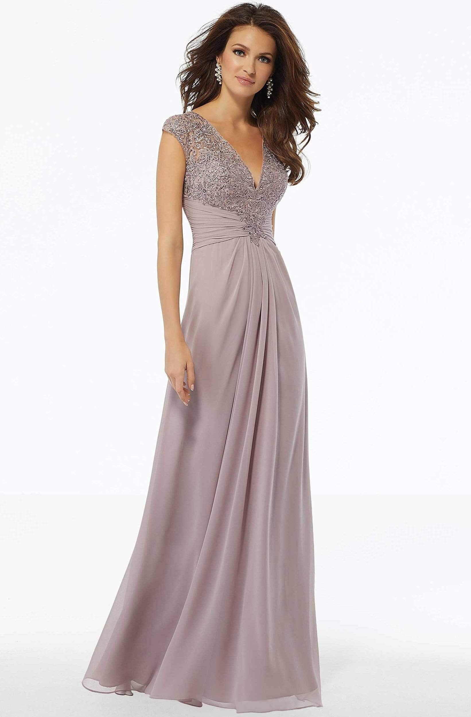 MGNY By Mori Lee - 72129 Beaded Lace Ruched Chiffon Dress Evening Dresses 2 / Dusty Lilac