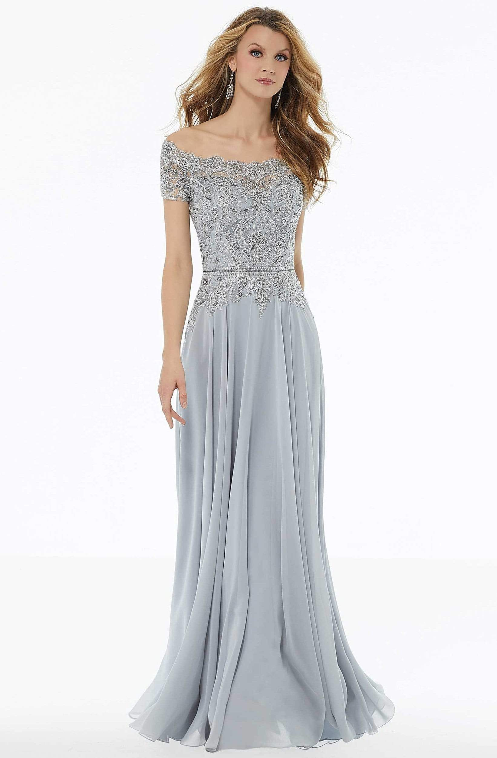 MGNY By Mori Lee - 72133 Off Shoulder Lace Appliqued Chiffon Dress Mother of the Bride Dresses 2 / Silver
